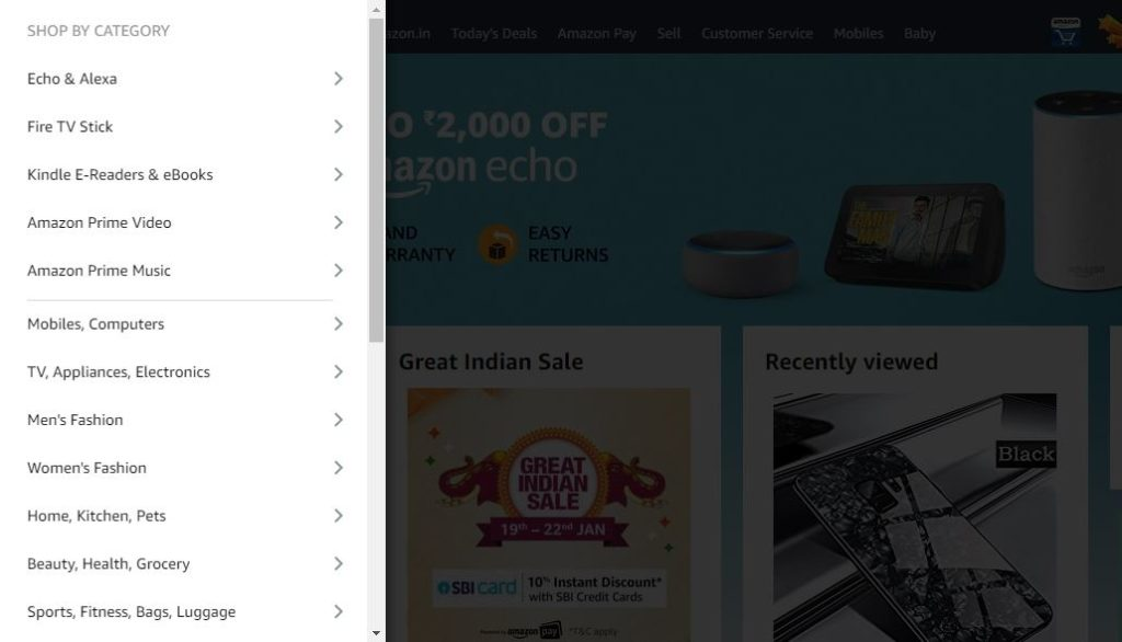 Amazon, menu, navigation
